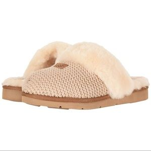New UGG Cozy Knit Genuine Shearling Slipper, Cream